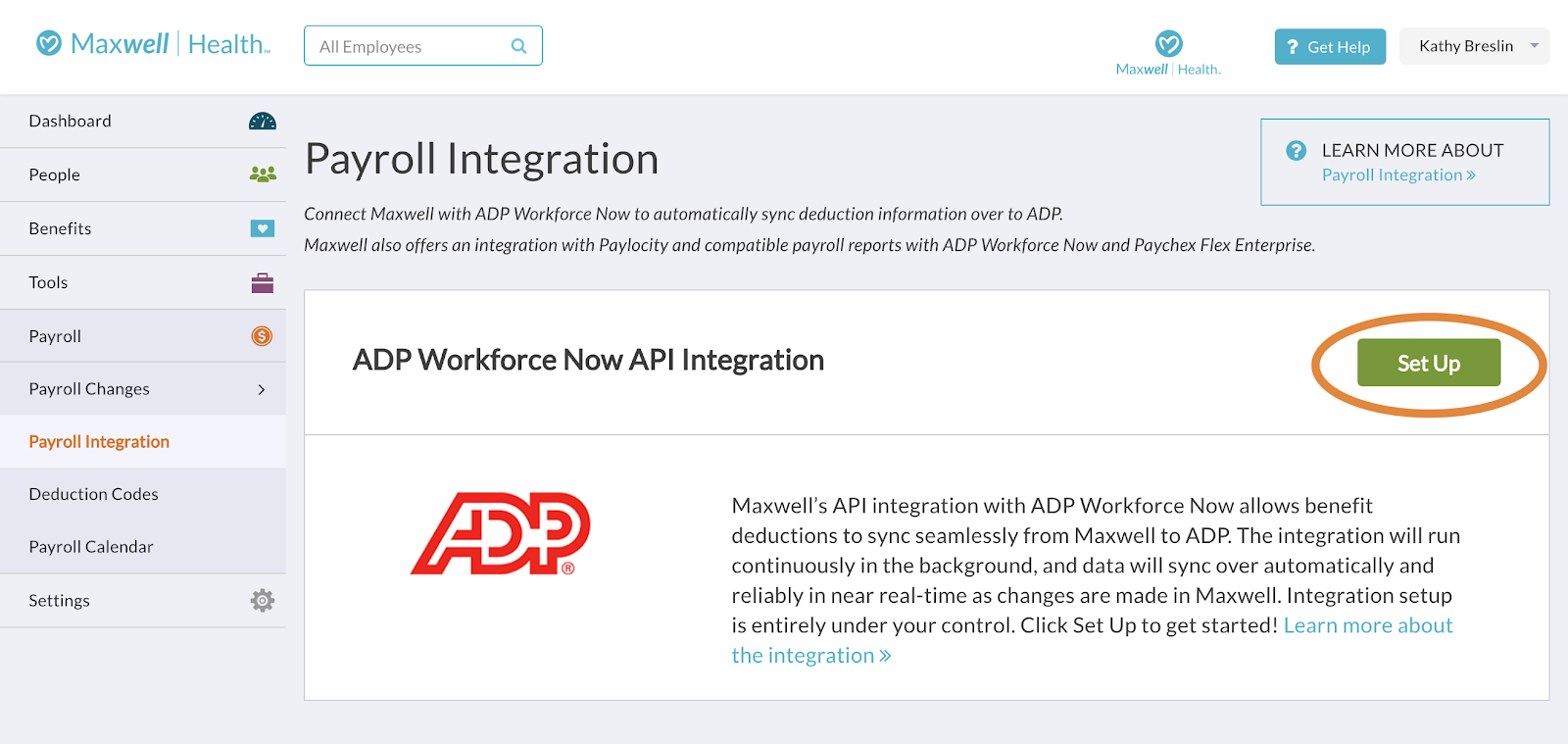 About the ADP Workforce Now API Integration – Support